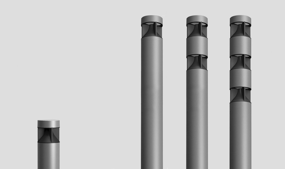 Inula - Zero up light bollard and column with stackable light modules